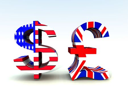 us currency: A set of US and UK currency symbols.  Stock Photo