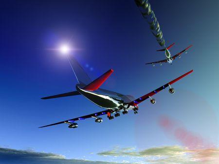 jet stream: Un par de aviones volando alto en el cielo, un avi�n tiene una corriente en chorro.
