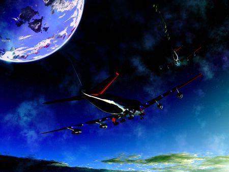 jet stream: Un par de aviones volando alto en el cielo, un avi�n tiene un chorro.