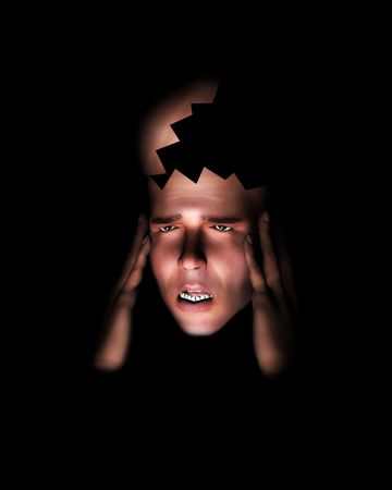 A image of a man in terrible expressive pain, possible having a migraine. photo