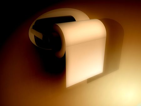 loo: A image of a simple loo roll on its holder.