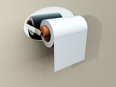 A image of a simple loo roll on its holder. photo