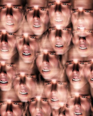 A image of a set of men in terrible expressive pain, possible having a migraine.  photo