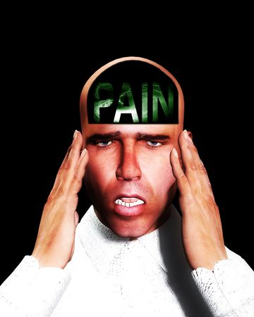 traumatised: A image of a man in terrible expressive pain, possible having a migraine.  Stock Photo