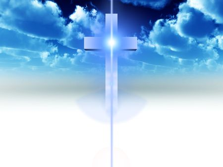 almighty: A religious cross with some added illumination, the image is suitable for religious concepts Stock Photo