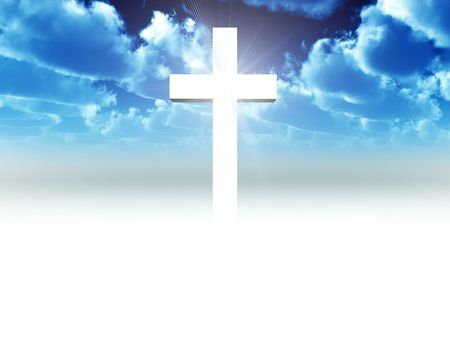 christian symbol: A religious cross with some added illumination, the image is suitable for religious concepts Stock Photo