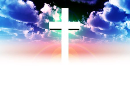 A religious cross with some added illumination, the image is suitable for religious concepts Stock Photo