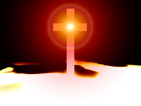 A religious cross with some added illumination, the image is suitable for religious concepts. Stock Photo