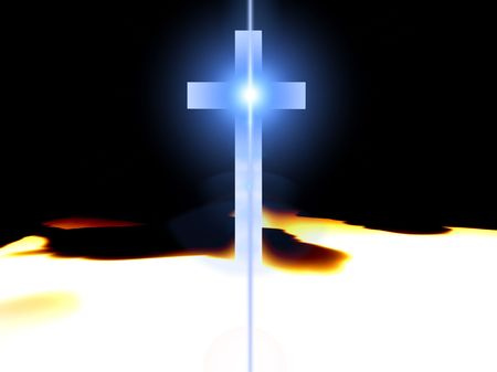 almighty: A religious cross with some added illumination, the image is suitable for religious concepts. Stock Photo
