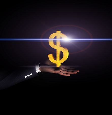hand held: An glowing American Dollar sign held in a businessmans hand.