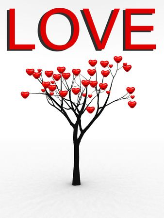 A happy and loving set of hearts growing from a tree for abstract romantic concepts. Stock Photo