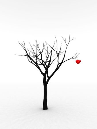 adore: A happy and loving heart growing from a tree for abstract romantic concepts. Stock Photo