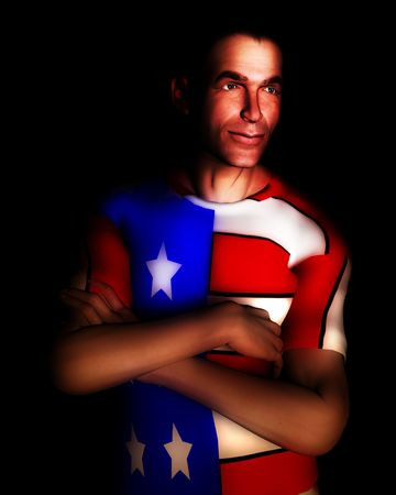 A man with the American flag on his clothing, a great image for every pattic American. Stock Photo - 822204