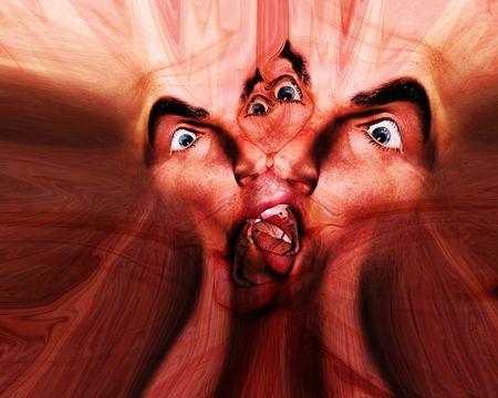 My vision of a abstract nightmare with a set of merged faces that could be in great pain or could be some form of howling ghost Stock Photo - 920350