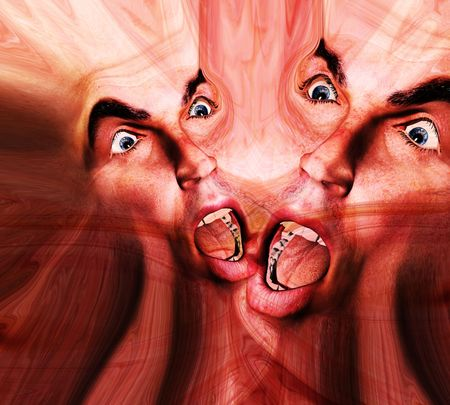 merged: My vision of a abstract nightmare with a set of merged faces that could be in great pain or could be some form of howling ghost Stock Photo