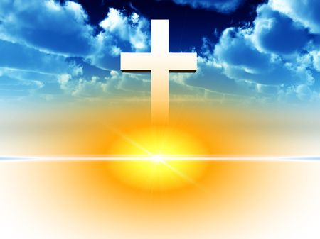 almighty: A religious cross floating in a heavily sky.