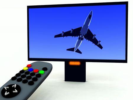 Una imagen de un control remoto de televisi�n con un programa sobre viajes. Foto de archivo - 920421