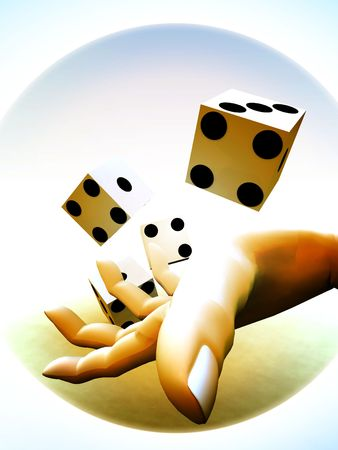 probable: A image of a set of dice that have been thrown, it would be suitable for images based on betting.