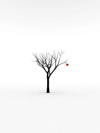 passionate: A happy and loving heart growing from a tree for abstract romantic concepts. Stock Photo
