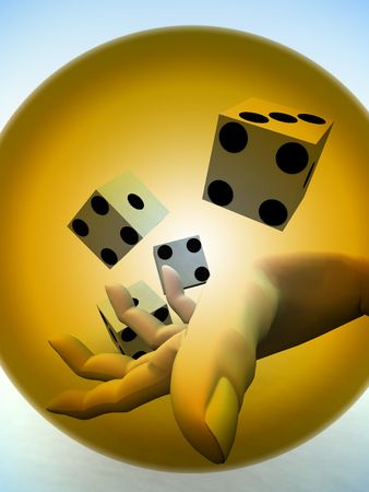 A image of a set of dice that have been thrown, it would be suitable for images based on betting.