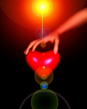 symbolize: A loving heart for romantic concepts which is glowing.