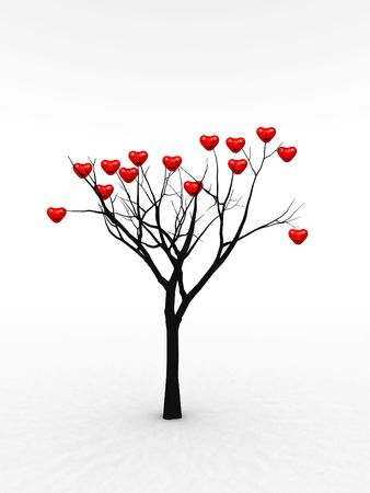 heartshaped: A happy and loving set of hearts growing from a tree for abstract romantic concepts. Stock Photo