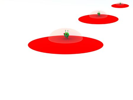 extra terrestrial: A fleet of flying saucer that is in hover mode. Stock Photo