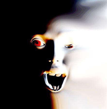 distort: Mi visi�n de una pesadilla abstracta con un rostro que podr�a ser en gran dolor o podr�a ser alg�n tipo de desagradable fantasma.  Foto de archivo
