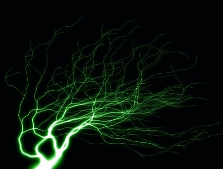 streak lightning: A flash of lightning against a black background. Stock Photo