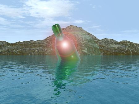 A message within a bottle floating on some water by the coast, it could also be seen as rubbish. photo