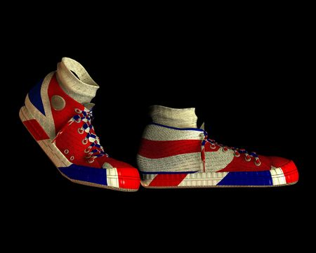 brit: A pair of shoes with the Union Jack flag on them, its the flag of Great Britain.