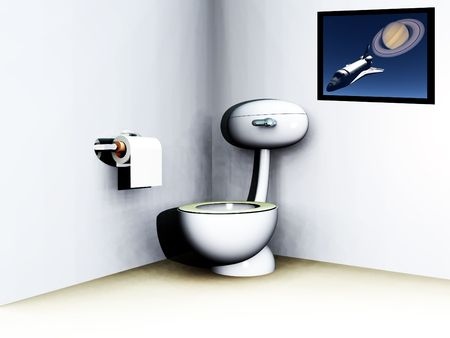 loo: An image of a loo within a bathroom. Stock Photo
