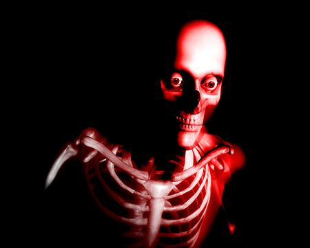 which: An x ray image of a man in which you can see the Skelton under the skin
