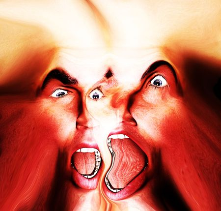 My vision of a abstract nightmare with a merged face that could be in great pain or could be some form of howling ghost. Stock Photo - 1171423