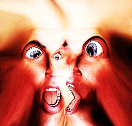 My vision of a abstract nightmare with a merged face that could be in great pain or could be some form of howling ghost. Stock Photo - 1171427