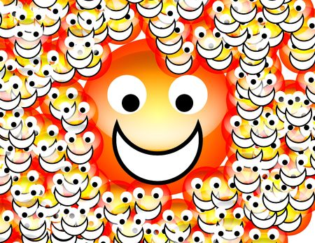 contended: An image of a set of happy cartoon faces. Stock Photo