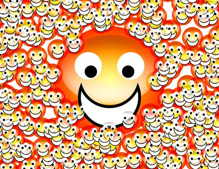 exultant: An image of a set of happy cartoon faces. Stock Photo