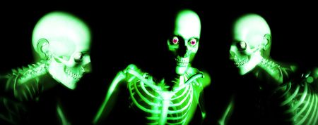which: An x ray image of a some man in which you can see the Skelton under the skin.