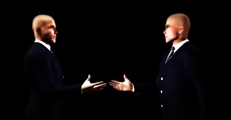 An image of two businessmen about to shake hands. photo