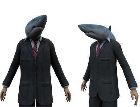 A metaphorical image of 2 businessmen with sharks heads. photo