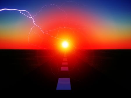 streak lightning: An image of a road with the sun at the end of it,with added lightning.