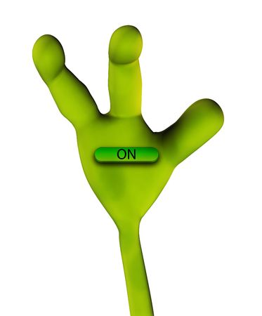 martians: An image of an alien hand that is pushing a word in a button.