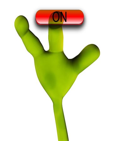 extra terrestrial: An image of an alien hand that is pushing a word in a button.
