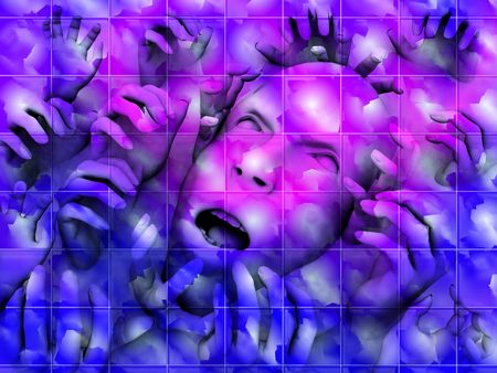 traumatised: My vision a concept of someone who is overwhelmed with pain, but it could also be a abstract nightmare. A good image for .