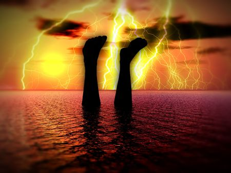 streak lightning: An image of a man that is either swimming or has drowned in the sea, with some added lightning