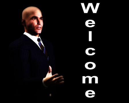 An image of a welcoming business man. photo