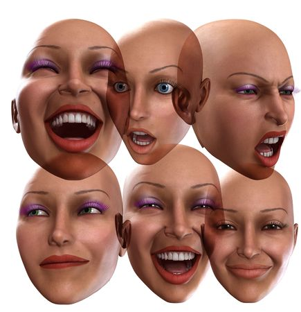 contended: A abstract image of a set of female faces that are showing emotions, it could be a good  image
