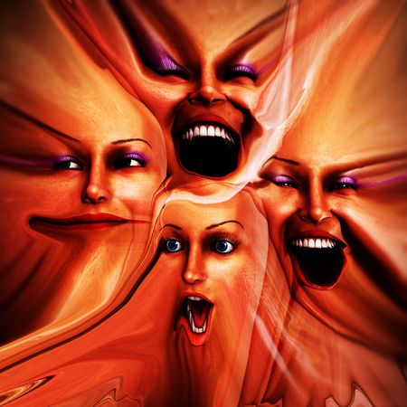 that: A abstract image of a set of female faces that are showing emotions, it could be a good  image