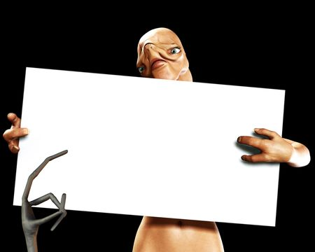 An image of an alien that is holding a blank sign. Stock Photo - 1207234