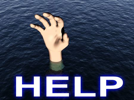 An image of a person who is drowning. photo